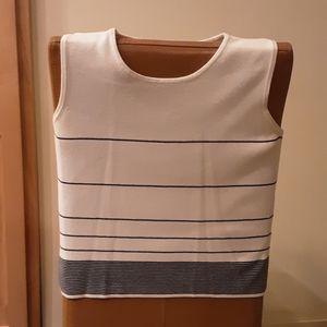 Designers Originals Sleeveless White/Black Sweater